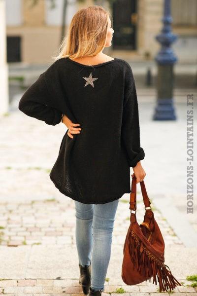 pull-mohair-noir-étoile-strass-dos-brillante