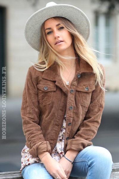 veste courte matière velours camel femme esprit bohème