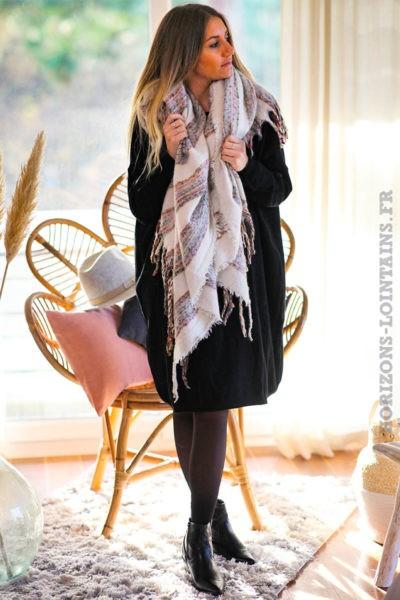 Echarpe-douce-écru-chiné-femme-vêtements-hiver-horizons-lointains-019