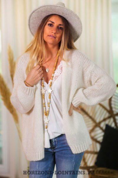 Gilet-écru-grosses-mailles-vêtements-femme-esprit-bohème-hippie