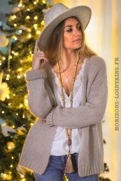 Gilet-beige-grosses-mailles-vêtements-femme-esprit-bohème-hippie