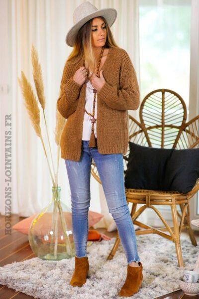 Gilet-camel-grosses-mailles-vêtements-femme-esprits-bohème-hippie-C020
