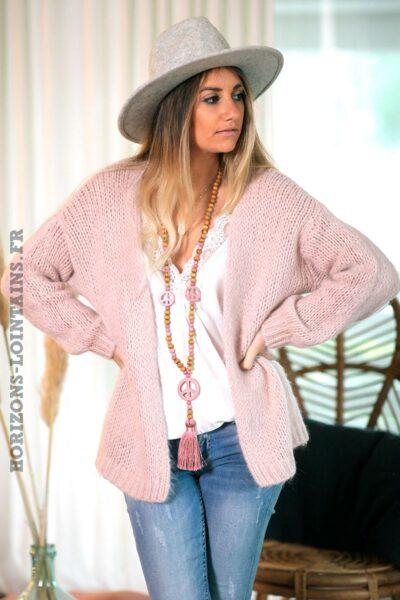 Gilet-rose-pale-grosses-mailles-vêtements-femme-esprits-bohème-hippie-C020-02