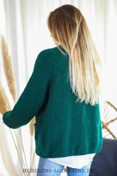Gilet-vert-bouteille-grosses-mailles-manches-raglan-poches-vêtement-femme-style-bohème-C029