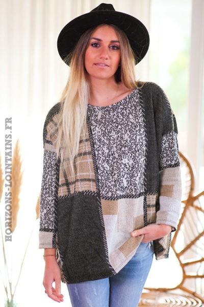 Pull-beige-carreaux-blanc-gris-vêtement-femme-look-moderne