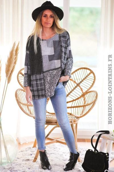 Pull-gris-carreaux-blanc-noir-vêtement-femme-look-moderne