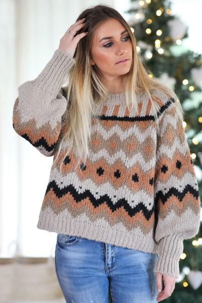 Pull-jacquard-beige-vêtement-femme-hiver-noel-C247