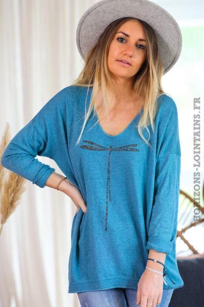 Pull-leger-bleu-canard-colV-libellule-vêtement-femme-C248