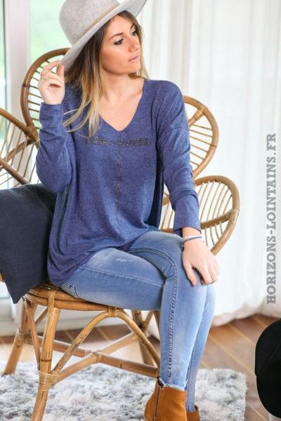 Pull-leger-bleu-jean-colV-libellule-vêtement-femme-C248