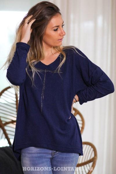 Pull-leger-bleu-marine-colV-libellule-vêtement-femme-C248