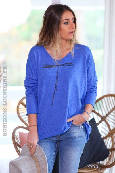 Pull-leger-bleu-roi-colV-libellule-vêtement-femme-C248-05