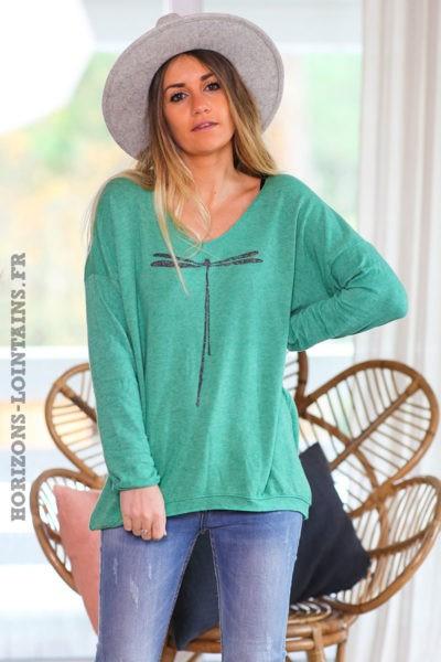 Pull-leger-vert-colV-libellule-vêtement-femme-C248