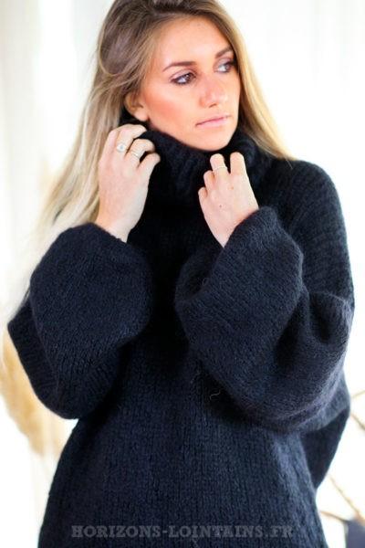 Pull-loose-noir-col-roulé-manches-ballons-vêtements-femme-hiver-C222