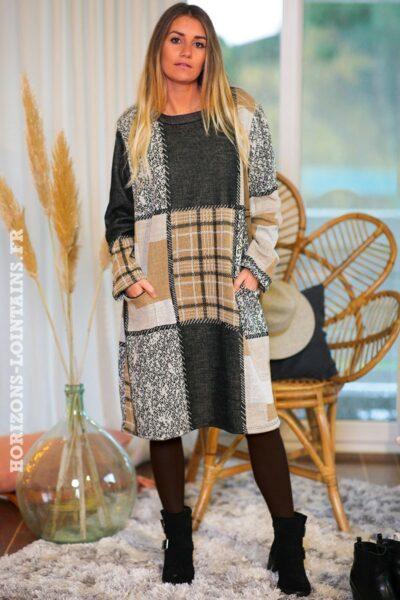 Robe-beige-grise-carreaux-avec-poches-vêtement-femme-tenue-fête-C169-02