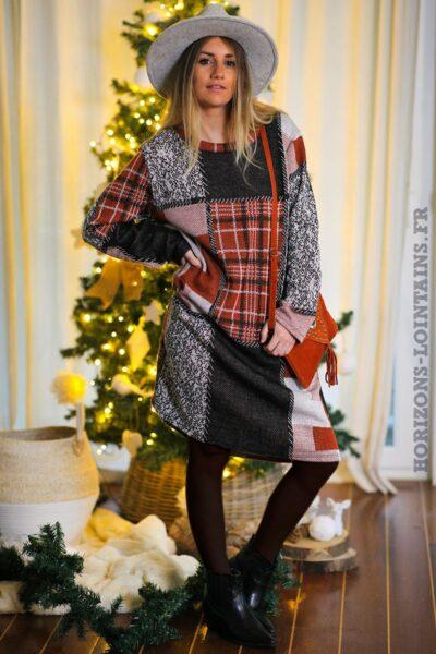Robe-terracotta-grise-carreaux-avec-poches-vêtement-femme-tenue-fête