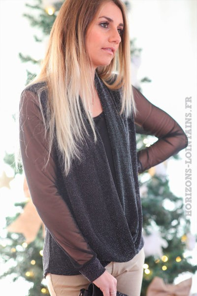 Top-noir-avec-brillants-argentés-et-manches-voilage-c241