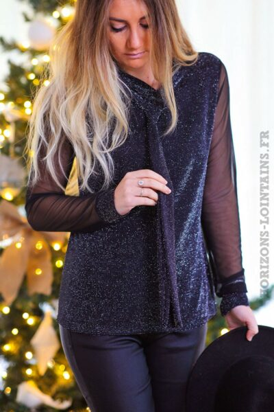 Top-noir-brillant-paillettes-argentés-manches-voilage-col-avec-nœud-tenue-fête-C243