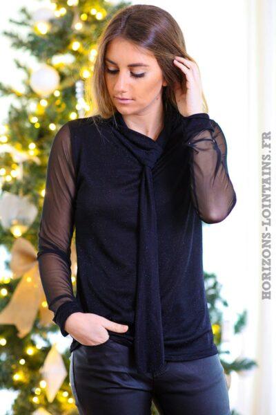Top-noir-brillant-paillettes-noires-manches-voilage-col-avec-nœud-tenue-fête-C243