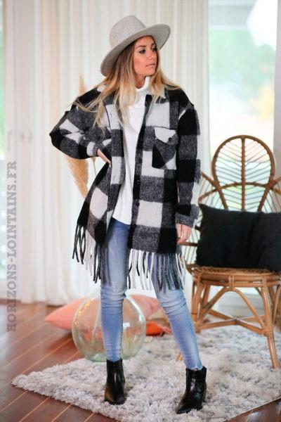 Veste-chaude-à-carreaux-noirs-et-blancs-c223
