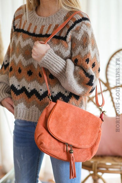 sac-bandouliere-orange-cuir-velours