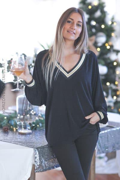 Top noir brillant col v doré large tenue de fêtes noel grande taille c240 (1)