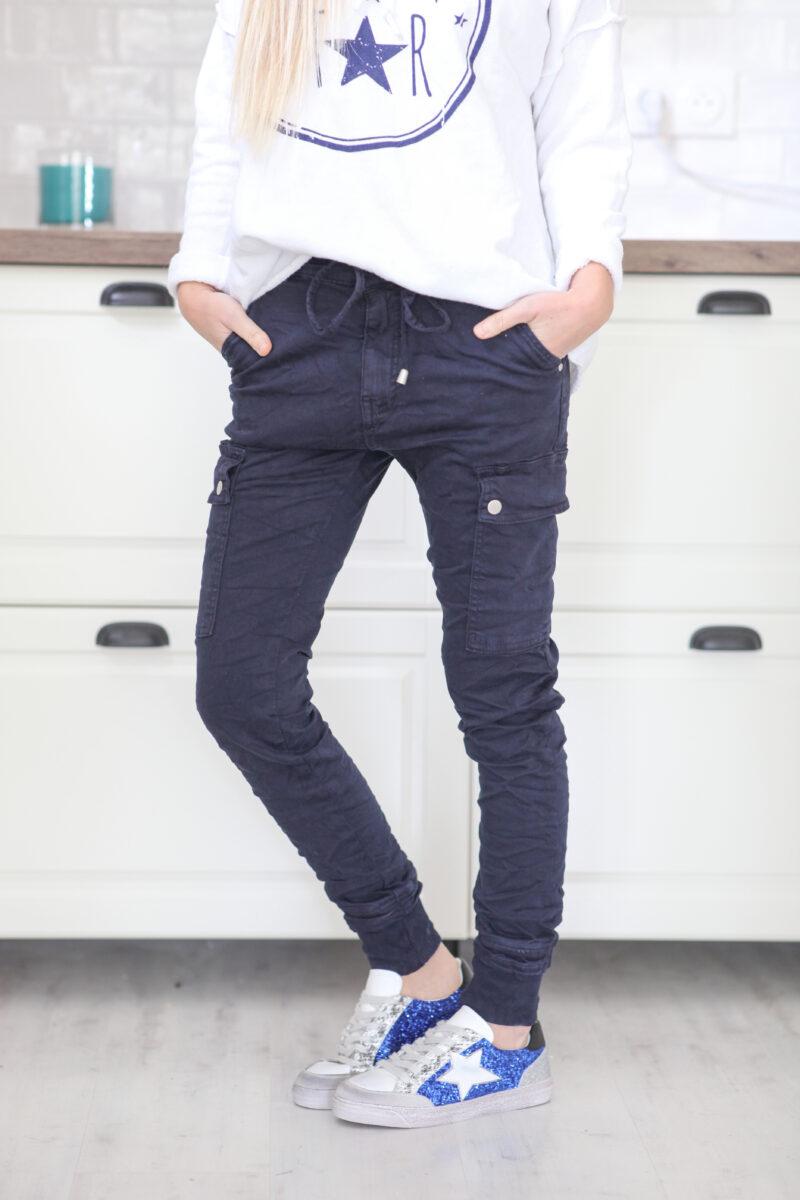 Pantalon cargo bleu marine avec ceinture élastique C34 (1)
