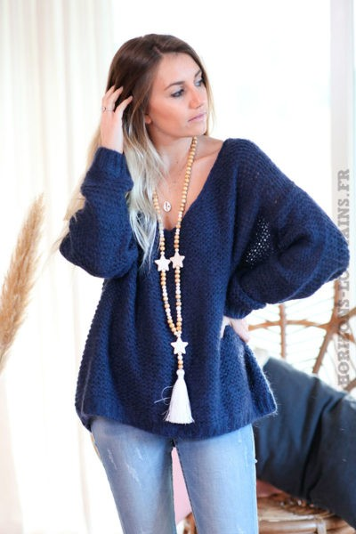 Pull-bleu-marine-maille-point-mousse-c180
