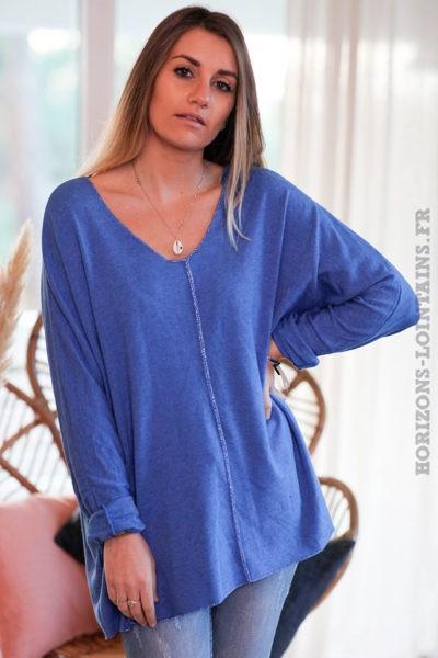 Pull-bleu-roi-col-V-avec-coutures-argentées-c249