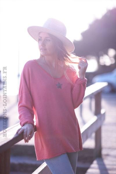 Pull-confort-bois-de-rose-étoile-strass-argentée-c250