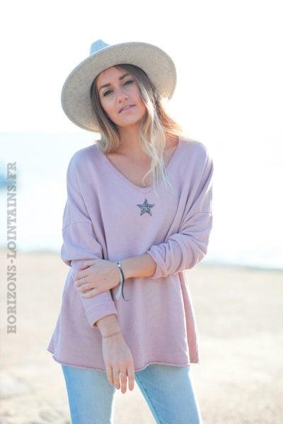Pull-confort-rose-poudré-étoile-strass-argentée-c250