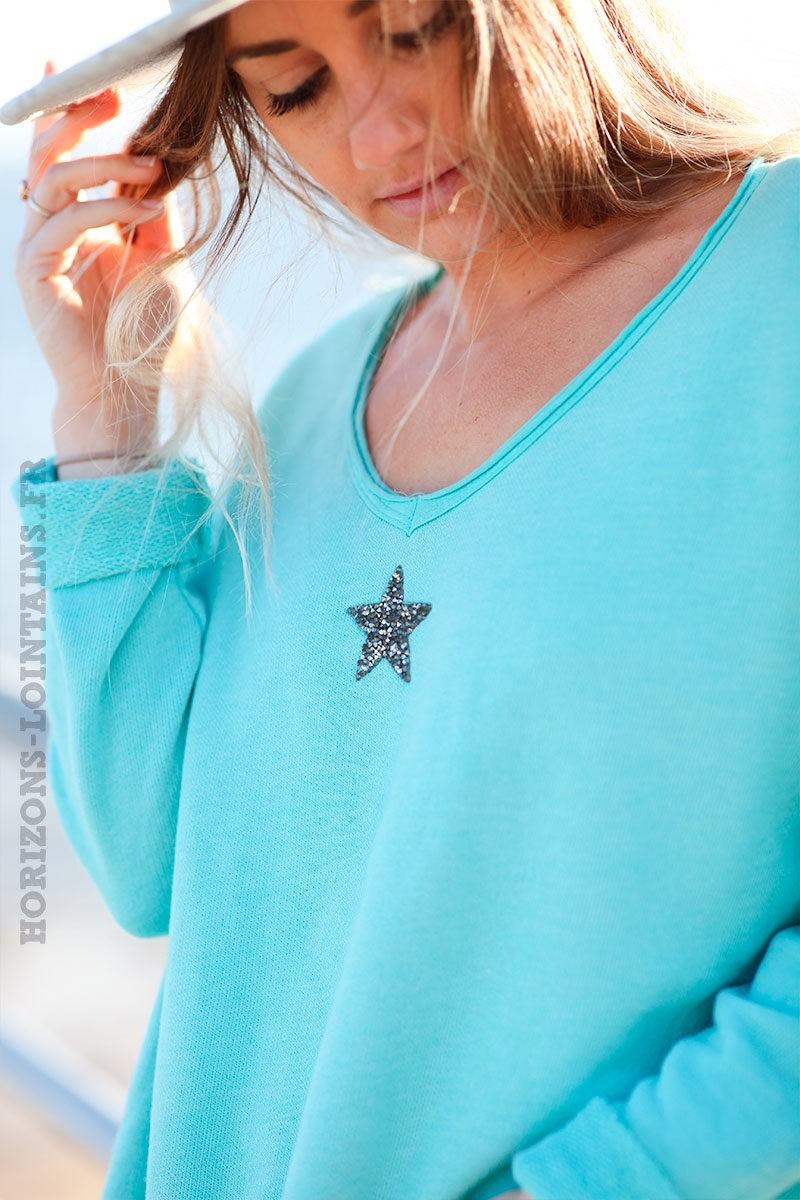 Pull-confort-vert-d'eau-étoile-strass-argentée-c250