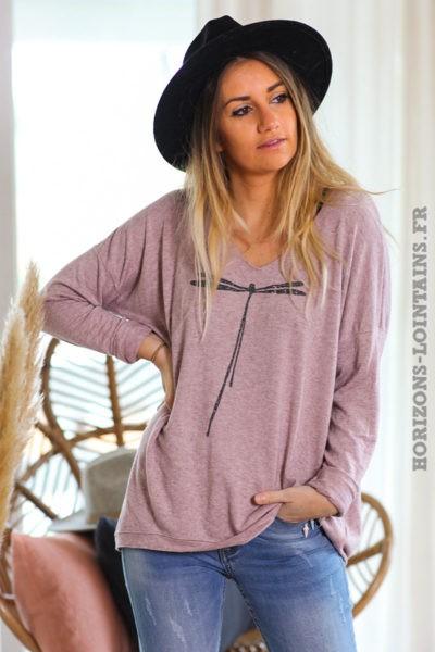 Pull-leger-vieux-rose-colV-libellule-vêtement-femme-C248