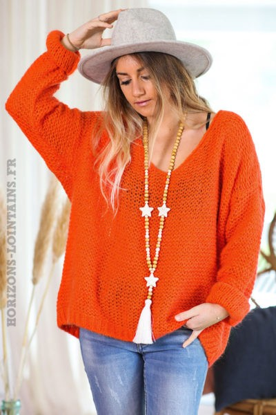 Pull-orange-sanguine-maille-point-mousse-vêtements-femmes-look-bohème-hippie-C180-V2