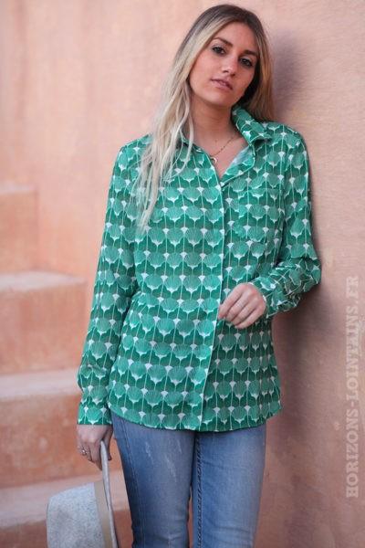 Chemise-imprimés-verts-petits-liserés-brillants-vêtements-bohème-femme-look-hippie-D008
