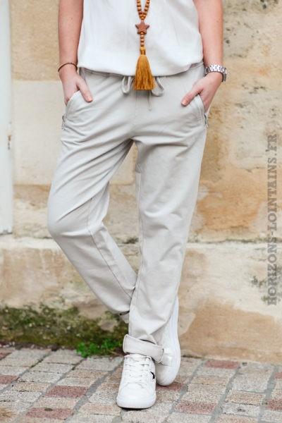 Jogging-beige-ceinture-élastique-poches-zip-b053