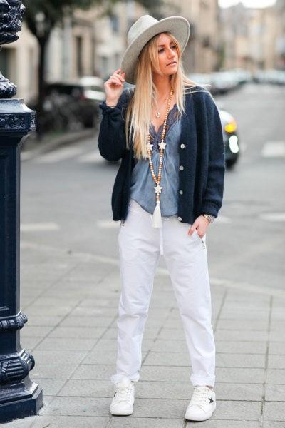 Jogging-blanc-ceinture-élastique-poches-zip-b053