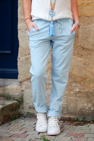 Jogging-bleu-ciel-ceinture-élastique-poches-zip-b053