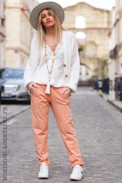 Jogging-femme-pêche-ceinture-élastique-poches-zip-vêtement-confortable-B053