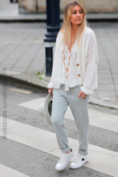 Jogging-gris-clair-ceinture-élastique-poches-zip-b053