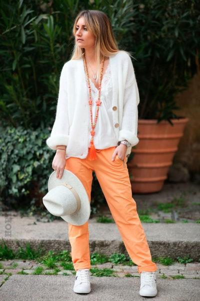 Jogging-orange-ceinture-élastique-poches-zip-b053-12