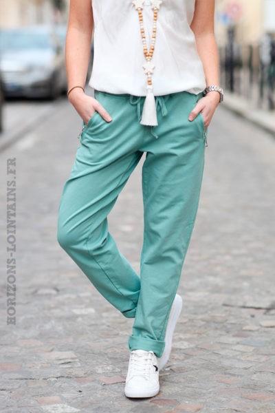 Jogging-vert-céladon-clair-ceinture-élastique-poches-zip-b053