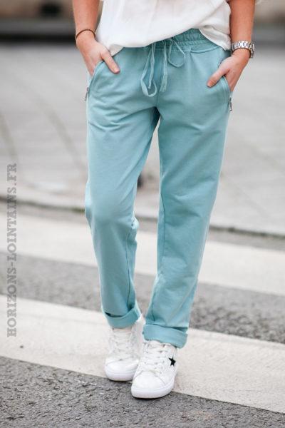Jogging-vert-d'eau-clair-ceinture-élastique-poches-zip-b053