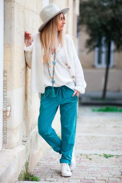 Jogging-vert-turquoise-ceinture-élastique-poches-zip-b053