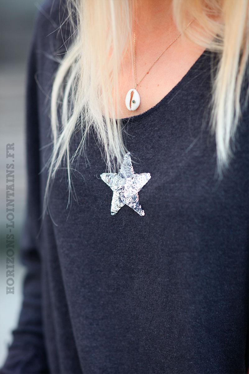 Pull-gris-foncé-chiné-col-v-petite-étoile-sequins-c176