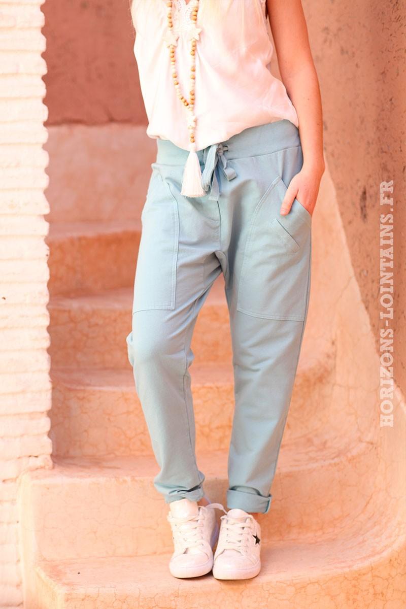 Pantalon-de-jogging-vert-d'eau-clair-urbain-à-poches-004