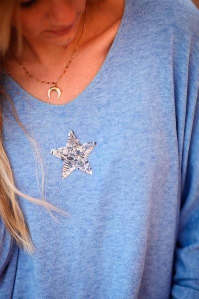Pull-bleu-lavande-chine-col-v-petite-étoile-sequins-c176-2