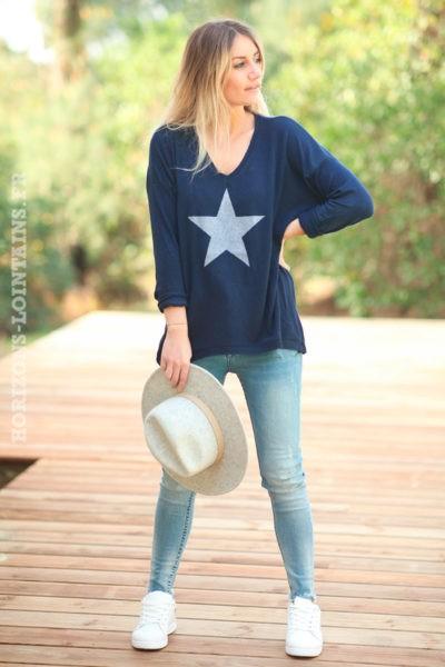 Pull-fin-tout-doux-étoile-argenté-bleu-marine-c217