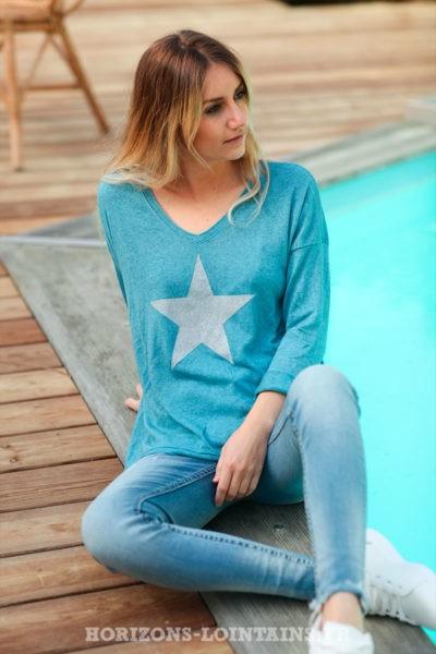 Pull-fin-tout-doux-étoile-argenté-bleu-pétrole-c217