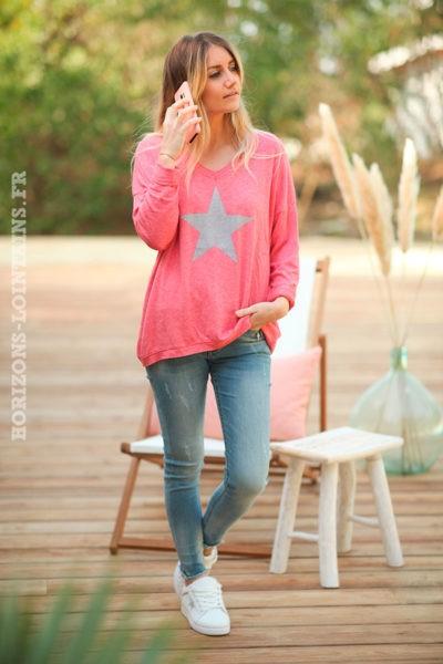 Pull-fin-tout-doux-étoile-argenté-bois-de-rose-framboise-c217