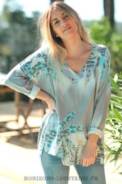 Pull-gris-clair-avec-motifs-palmiers-colorés-effet-brillants-vêtements-amples-femmes-D012